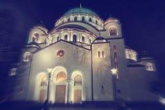Yttersida av helgonet Sava Church i Belgrade, Serbien Arkivfoto
