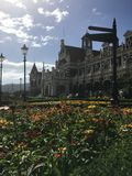 Yttersida av järnvägsstationen i Dunedin, Nya Zeeland Arkivfoto