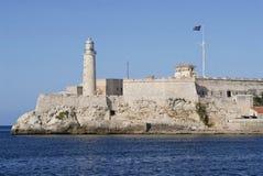 Yttersida av kastet och fästningen för El Morro i havannacigarren, Kuba Arkivfoton