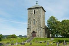 Yttersida av kyrkan för St Olav'sen på Avaldsnes i Kamroy, Norge Royaltyfria Bilder