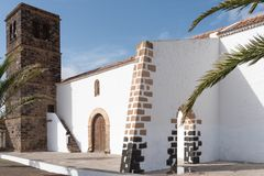 Yttersida av kyrkan i La Oliva på Fuerteventura Fotografering för Bildbyråer