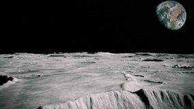 Yttersida av månelandskapet Flyg över måneyttersidan Slapp fokus vektor illustrationer