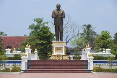 Yttersida av monumentet till den första presidenten av den Demokratiska folkrepubliken Laos herr Supanuvong royaltyfria foton