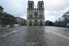Yttersida av Notren Dame Cathedral efter morgonregnet i Paris arkivfoto