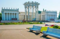 Yttersida av paviljongen av Uzbekistan namngav nyss kultur på territoriet av VDNH, Moskva royaltyfria foton