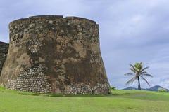 Yttersida av Sanen Felipe Fort i Puerto Plata, Dominikanska republiken Arkivfoton
