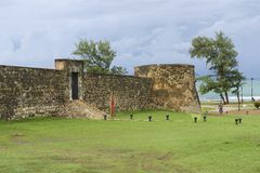 Yttersida av Sanen Felipe Fort i Puerto Plata, Dominikanska republiken Fotografering för Bildbyråer