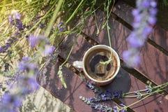 Yttersida för kaffekopp som omges av lavendel Royaltyfri Foto