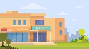 Yttersida för marknadsshoppinggalleriabyggnad Arkivbilder