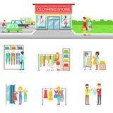 Yttersida och folk för klädlager som shoppar uppsättningen av illustrationer royaltyfri illustrationer