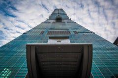 Yttersidan av Taipei 101, i Xinyi, Taipei, Taiwan Arkivfoton