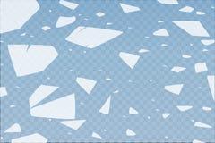 Yttersidatexturen knäckas på is som isoleras på en genomskinlig bakgrund också vektor för coreldrawillustration broken exponering Arkivbilder