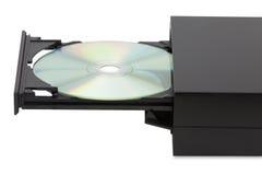 Yttre CD--DVDspelare på vit bakgrund Arkivbild
