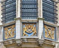 Yttre detaljer av Steen Castle av Antwerp, Belgien Arkivfoto