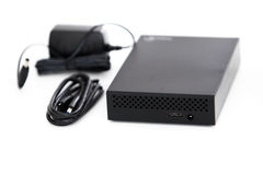 Yttre hårddisk och USB kabel Royaltyfri Fotografi