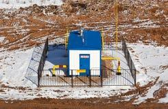 Yttre ny blockskrift gaskontrollpunkt, bästa sikt Royaltyfri Foto
