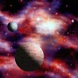 Yttre rymdnebulosa med stjärnor och planeter Royaltyfri Bild