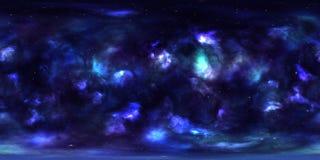 Yttre rymdnebulosa och stjärnor 360 grad sfärisk panorama Arkivfoto
