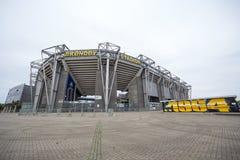 Yttre sikt av den Brondby arenan royaltyfri bild