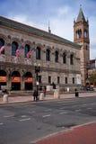Yttre sikt av det historiska Boston offentliga biblioteket, Arkivbild