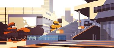 Yttre sikt för modern kontorsbyggnadtrappa över lägenhet för bakgrund för skyskrapabyggnadscityscape horisontal stock illustrationer