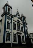 Yttre sikt till kyrkan av den heliga Kristus, Praia da Vitoria, terceira, Portugal royaltyfri bild