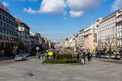 Yttre sikter av byggnader i Prague royaltyfri foto