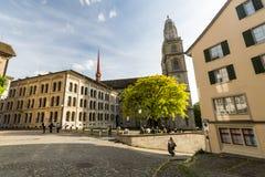 Yttre sikter av olika hus och kyrkor i Zurich Royaltyfria Foton