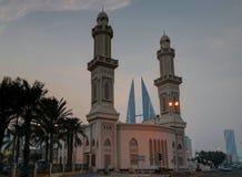 Yttre solnedgångsikt till Ras Rumman Mosque, Manama baikal Fotografering för Bildbyråer