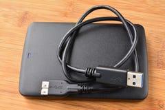 Yttre USB 3 0 hårda diskett och kabel Arkivfoton