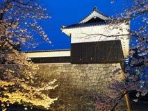 Yttre vägg av den Kumamoto slotten på natten arkivbild