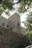 Yttre vägg av slotten av den storslagna förlagen av riddarna av Rhode Royaltyfri Fotografi