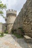 Yttre vägg av slotten av den storslagna förlagen av riddarna av Rhodes Arkivbilder