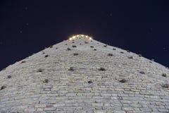 Yttre väggar för tillflyktfästning i Bukhara, Uzbekistan Sikt från botten Nattfotofors royaltyfri bild