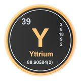 Yttrium Y chemical element. 3D rendering. Isolated on white background stock illustration