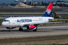 YU-APC空气塞尔维亚,空中客车A319-132诺瓦克・乔科维奇 免版税库存图片