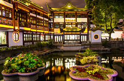 Yu Garden and Bazaar. A night view of the Yu Garden and bazaar in Shanghai, China stock photo