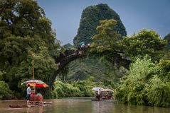 Yu Long river and Karst mountain landscape. GUILIN, CHINA - JULY 31, 2014: Yu Long river and Karst mountain landscape in Yangshuo Guilin, China royalty free stock photography