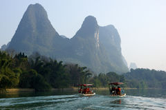 Yu Long river landscape in Yangshuo, Guilin, Guanxi, China Royalty Free Stock Images