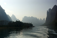 Yu Long river landscape in Yangshuo, Guilin, Guanxi province, China Stock Image