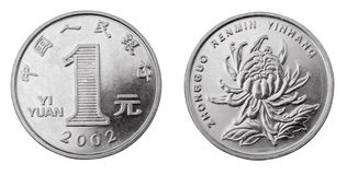 Yuan. Obverse and reverse of chinese coin one yuan isolated on white royalty free stock image