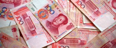 Yuan. Pile of Chinese money, close up Stock Photo