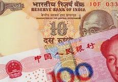 Yuan Bank Note With 10 för kines 100 indisk rupie arkivfoto