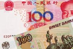 Yuan Bank Note With 100 för kines 100 sedel för rysk rubel royaltyfri bild