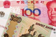 Yuan Bank Note With 100 för kines 100 sedel för rysk rubel royaltyfria foton