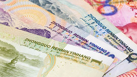 Yuan bank notes background stock photo