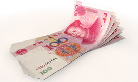 Yuan Bank Notes Spread. A group of five chinese yuan banknotes fanned out and curved on an isolated white background Royalty Free Stock Photo