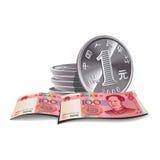 Yuan-Banknote- und Münzenabbildung, fina stock abbildung