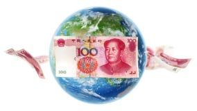 YUAN Banknotes Around Earth no branco (laço) ilustração do vetor