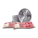 Yuan banknotes and coins  illustration, fina. Yuan banknotes and coins  illustration in color, financial theme ;  on background Royalty Free Stock Photography